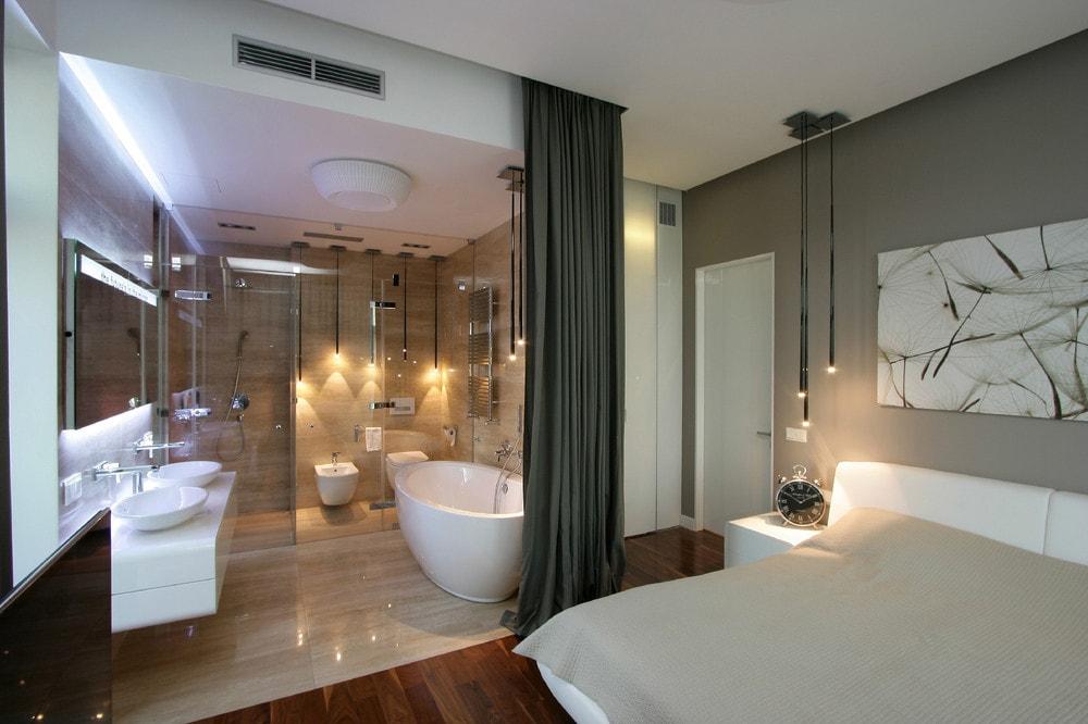 تصاميم حمامات داخل غرف النوم للمنازل العصرية ديكورموز