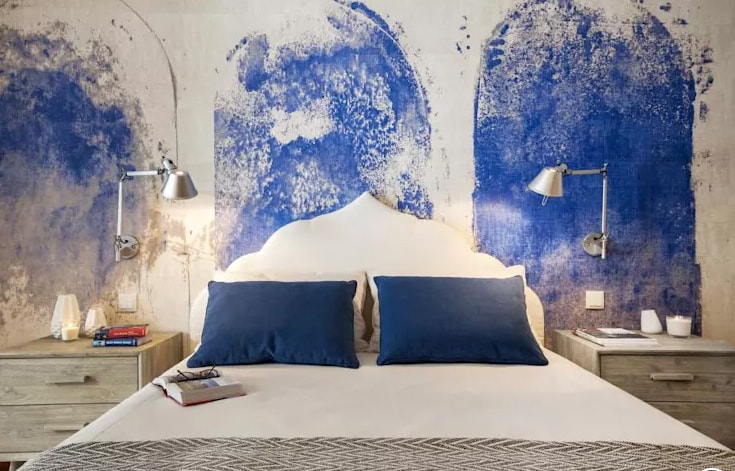غرف نوم باللون الازرق والابيض