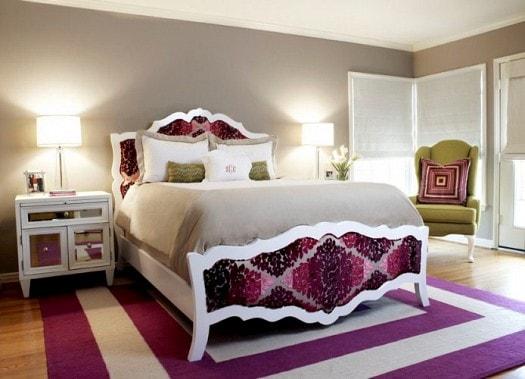 غرف نوم باللون الموف والرمادي (2)