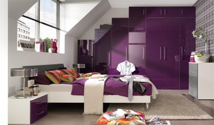 غرف نوم باللون الموف والرمادي (3)