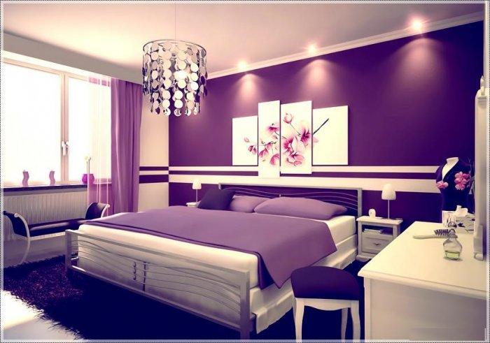 غرف نوم عرايس باللون الموف والرمادي