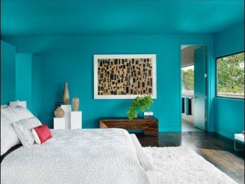غرفة نوم باللون التركواز