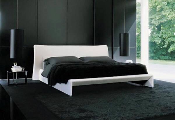 غرف نوم باللون الاسود والفضي (2)