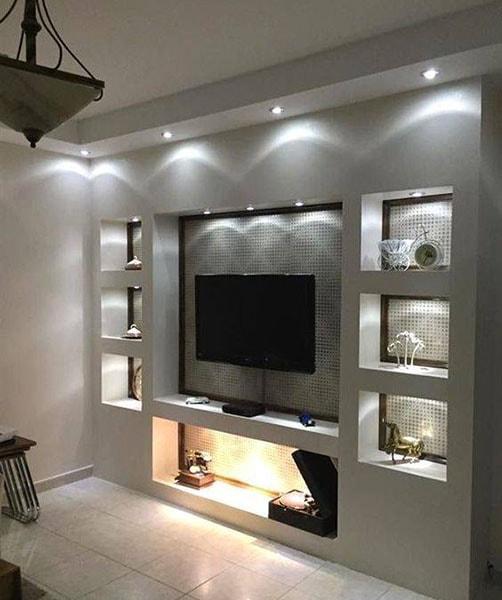 ديكور شاشات بلازما بالجبس مع أضواء (2)