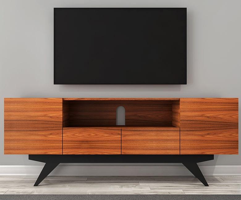 طاولة تلفزيون حديثة بأبواب جانبية